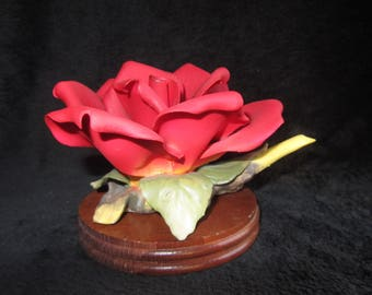 Vintage Red Porcelain Rose With Wood Base