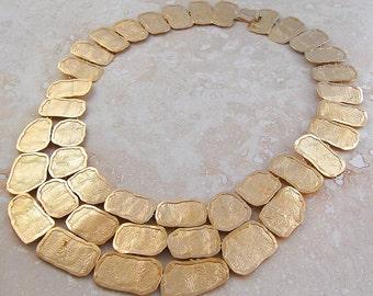 Gold Necklace, Statement Necklace, Sterling Silver, Designer Necklace, Aztec Jewelry, Vintage Necklace, Large Necklace, Tribal Jewelry, Gold