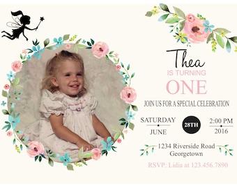 Photo Birthday Invitation, Vintage Style Photo Birthday Invitation, Baby Birthday, Elegant Photo Birthday Invitation, Custom Fairy Birthday