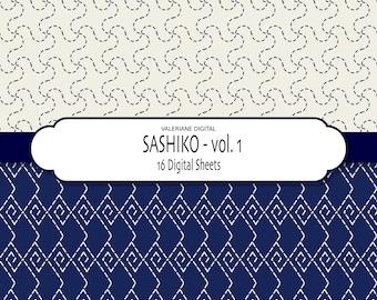 Indigo blue digital papers - Japanese Sashiko - Asian papers - Vol. 1 INSTANT DOWNLOAD  257