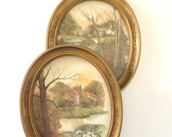 Cottage Wall Art Vintage Homco Gold Oval Frames Landscape Pictures
