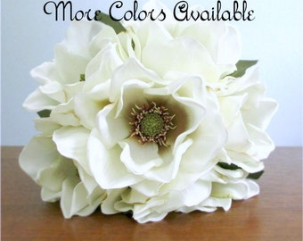 """Silk Magnolia Bouquet, Bridal Bouquet, Ivory, Red, or Tan, Southern Wedding, Choice of Size and Color, """"Charm"""""""
