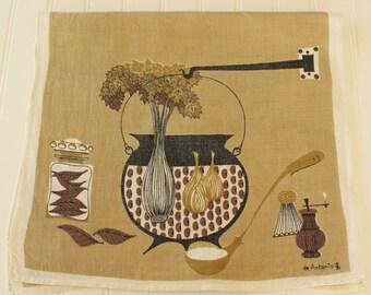 Vintage Mid Century de Antonio Linen Tea Towel Kitchen Towel Cooking Pot and Vegetables Motif