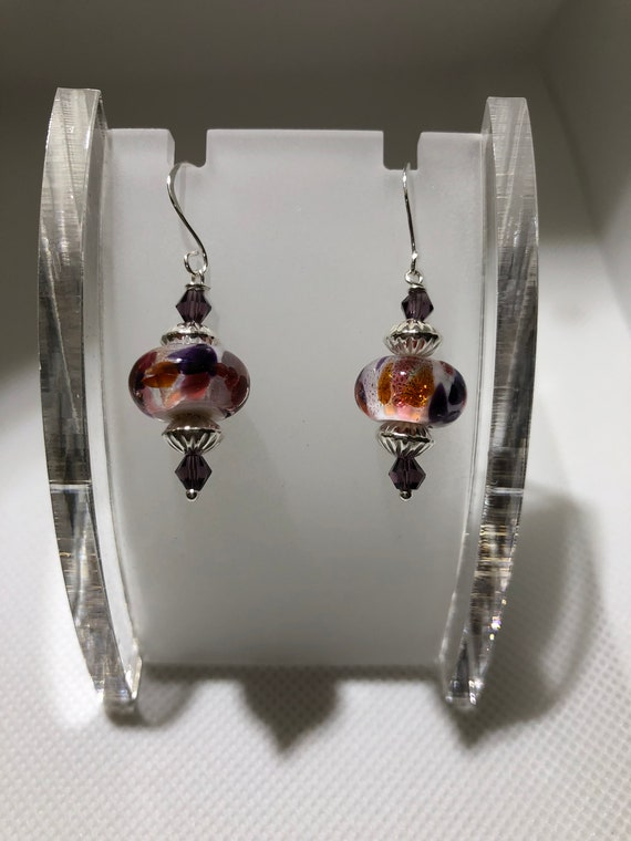 Lampwork Glass Beaded Earrings Pierced  Dangle  Round  Purple  Gold  Pink Sterling Silver Earrings for Women Teens Teacher Free Ship