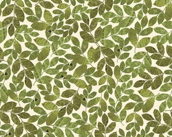Leaf Fabric, Trail Mix, Riley Blake Fabric, C4012 Green, Bo Bunny, Cotton Leaf Fabric, Fabric with Leaves, Green Leaves with Newsprint