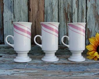 Pink Candy Striped Pedestal Mugs Set Of 3 Made In Japan