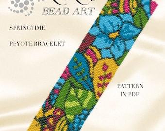 "Pattern, peyote bracelet ""Springtime"" peyote bracelet pattern in PDF instant download"
