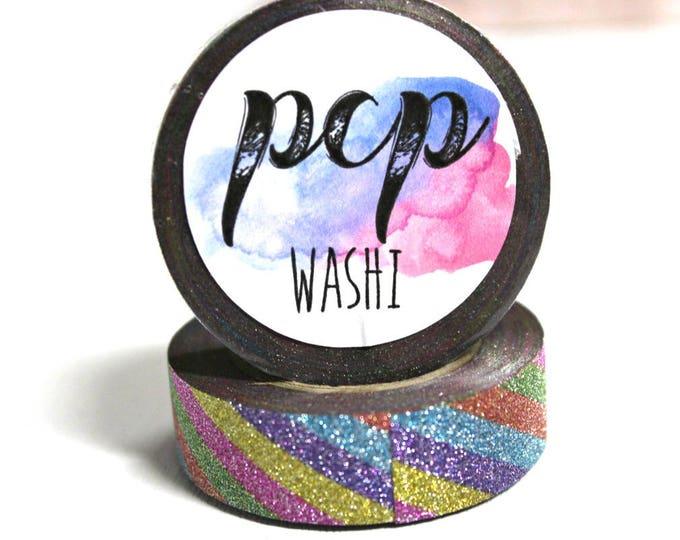Glitter Washi Tape - Rainbow Glitter Washi Tape - Paper Tape - Planner Washi Tape - Washi - Decorative Tape - Deco Paper Tape - stripe washi