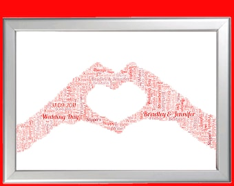 Personalised Hands making a Heart Word Art Cloud - Perfect gift for a best friend or loved one - Suitable for any occasion