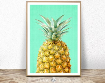 Pineapple Print, Fruit Wall Art, Kitchen Decor, Tropical Printable Large Poster, Digital Fruit Download, Modern Minimalist Kitchen Decor