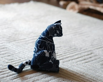 Black and white. Cat /soft textile sculpture / Flower print.