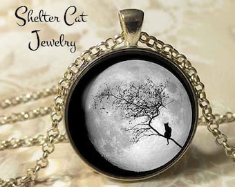 """Black Cat Over a Full Moon Necklace - 1-1/4"""" Circle Pendant or Key Ring - Wearable Art Photo - Cat Gothic Halloween Cat Lover Gift"""