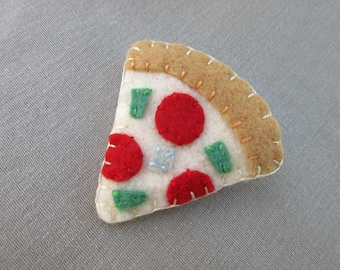 Cute pizza slice brooch, tiny food jewelry, pepperoni pizza pin, miniature food pizza crust felt food, pizza party snack toppings cheese