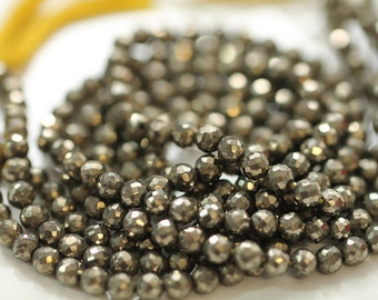 Pyrite Faceted Rounds, 4.5 mm, 7 inches GM2705F0/4/02 #165