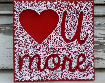 Handmade String Art, Nail Art Love U More Sign, Wall Decoration