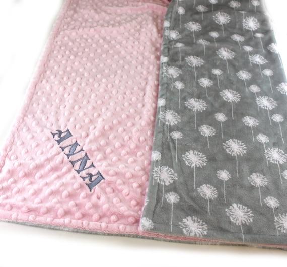 Personalized Baby Blanket, Floral Minky Baby Blanket Baby Girl Pink Gray Dandelion Blanket, Stroller Blanket, Nursery Decor, Flower Blanket