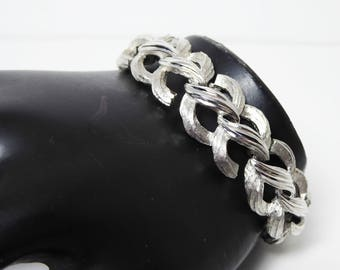 Trifari Classic Silver Tone Bracelet, Signed Crown Trifari Bracelet, Brushed Silver Tone Braids,  High Polished Links, Vintage 1960s 1970s