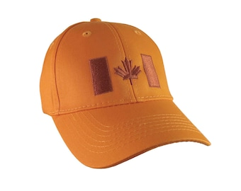 Canadian Flag Copper Embroidery Design on an Orange Adjustable Structured Baseball Cap for Kids Age 6 to 14 Tone on Tone Fashion Look