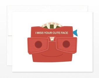 Retro I Miss You Card - I Miss Your Cute Face Viewmaster style Greeting Card, card for him, boyfriend card, long distance card, dating card