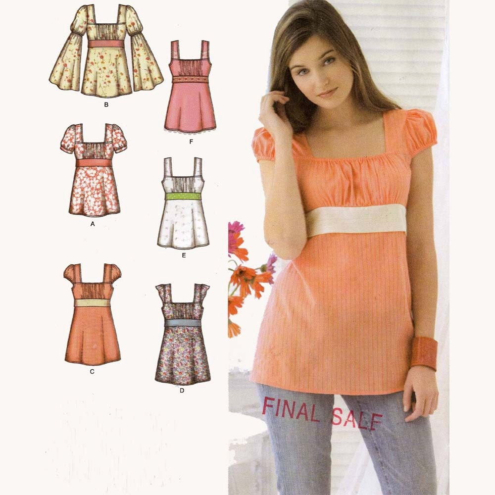 Womens Summer top boho sewing pattern Simplicity 3750 Bust 38 to 46 ...