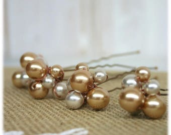 4 hairpins with beads for ceremony, wedding