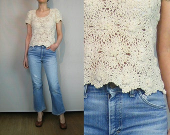 French Off White CROCHET Scalloped Knit Top