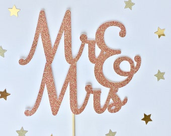Personalised rose gold cake topper, rose gold cake topper, personalised cake topper, Mr & Mrs cake topper, glitter cake topper, cake decor
