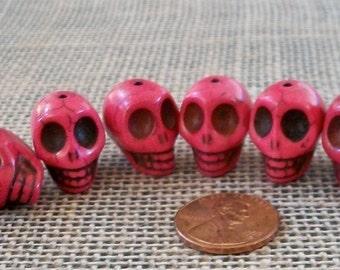 Dark Dark Pink Skull Stone Beads