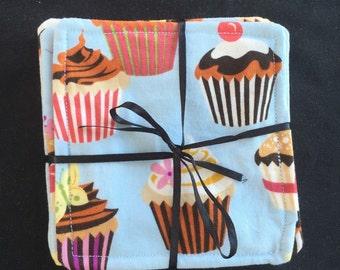 Set of 4 Cupcake Dreams Fabric Coasters