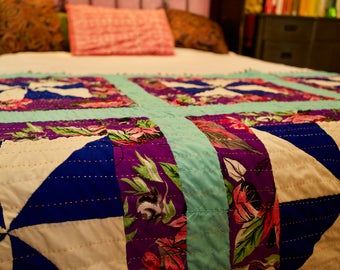 Ralli Quilt: Floral Purple and Seafoam