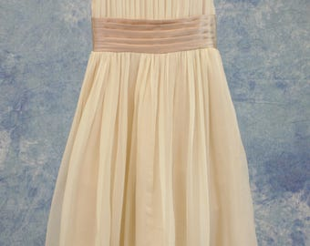 Vintage Style Champagne Wheat and Pink Flower Girl Child Dress SAMPLE SALE!