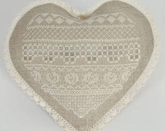 Lace up heart ready to hardanger embroidery