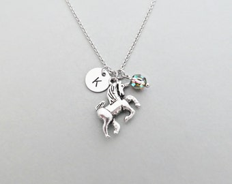 Unicorn Initial Necklace Personalized Hand Stamped - with Silver Unicorn Charm and Custom Bead