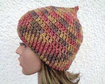 Size M, handpainted crochet beanie hat, pointy hat, pixie hat, merino wool beanie, wool hat, pink, brown, ocre, 100% wool