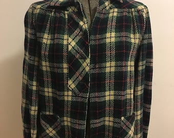Vintage 1950's wool plaid collared green button down jacket.