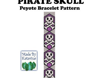 Peyote Pattern - Pirate Skull - INSTANT DOWNLOAD PDF - One Drop Odd Peyote Pattern - Pirate Bracelet Pattern - Peyote Pirate Bracelet