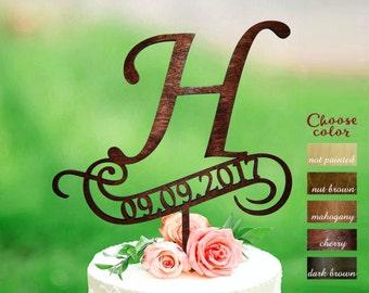 h cake topper, rustic monogram cake topper wedding, date wedding cake toppers, Wooden Cake Topper, cake topper h, Cake topper date, CT#133