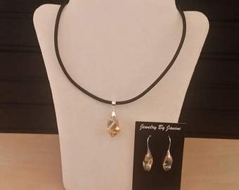 Swarovski Crystal Pendant on a Thick Black Leather Cord with adjustable length with Earrings