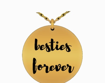Besties forever laser engraved necklace, best friends necklace, great gift for besties, best friends