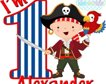 First Birthday Boy Pirate Personalized IRON ON TRANSFER- Personalized Name - Boy Birthday - Tshirts