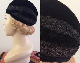 1920's Black Velvet Hat w/ Gold Thread