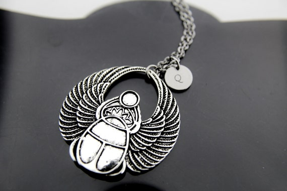 Silver scarab charm necklace egyptian scarab pendant scarab silver scarab charm necklace egyptian scarab pendant scarab charm personalized necklace initial charm initial necklace customized aloadofball Gallery