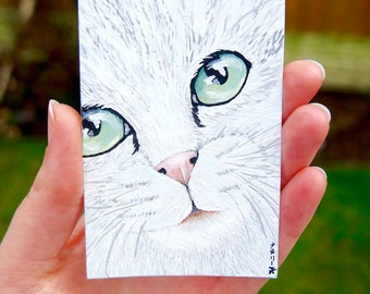 Cat Lover Gift, White Cat Art, Original ACEO Painting, Miniature Artwork by Natalie Heaven - 'Marble Eyes' - Not a Print!