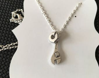Handy woman wrench necklace