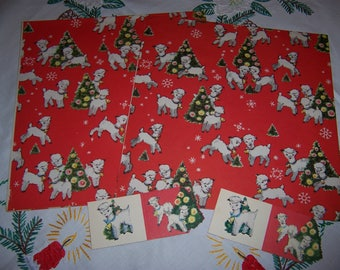 Vintage Christmas Wrapping Paper, Two Sheets with Lambs and Christmas Trees, Matching Gift Tags, Stickers
