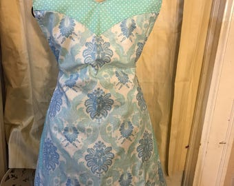 Ladies Reversible Apron / Blue and Green Print
