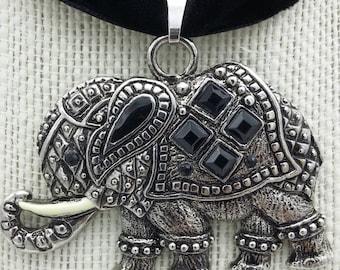 Elephant Pendant on Black Velvet Ribbon