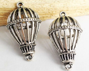 Hot Air Balloons -5pcs Antique Silver Filigree Balloon Connector Charm Pendants 22x37mm AB203-4