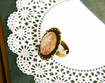 Flower Cabochon Ring Shabby Country Chic Romantic Jewelry Floral