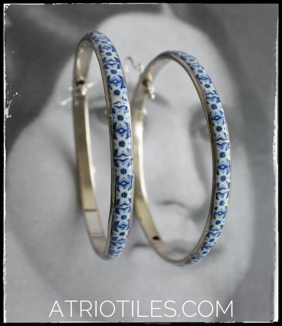"Hoop Earrings Tile Portugal Blue Azulejo Antique Porto (see actual Facade photos)  HUGE 3"""